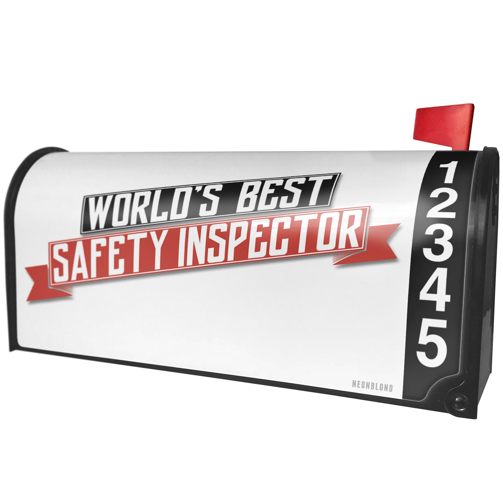 NEONBLOND Worlds Best Safety Inspector Magnetic Mailbox Cover Custom Numbers