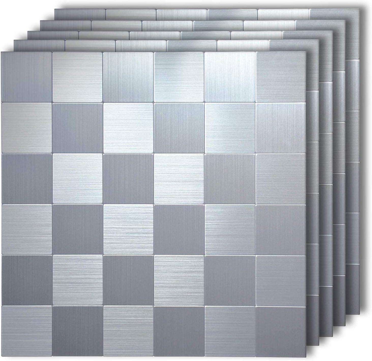 - Amazon.com: HomeyMosaic Moonlight Silver Peel And Stick Tile