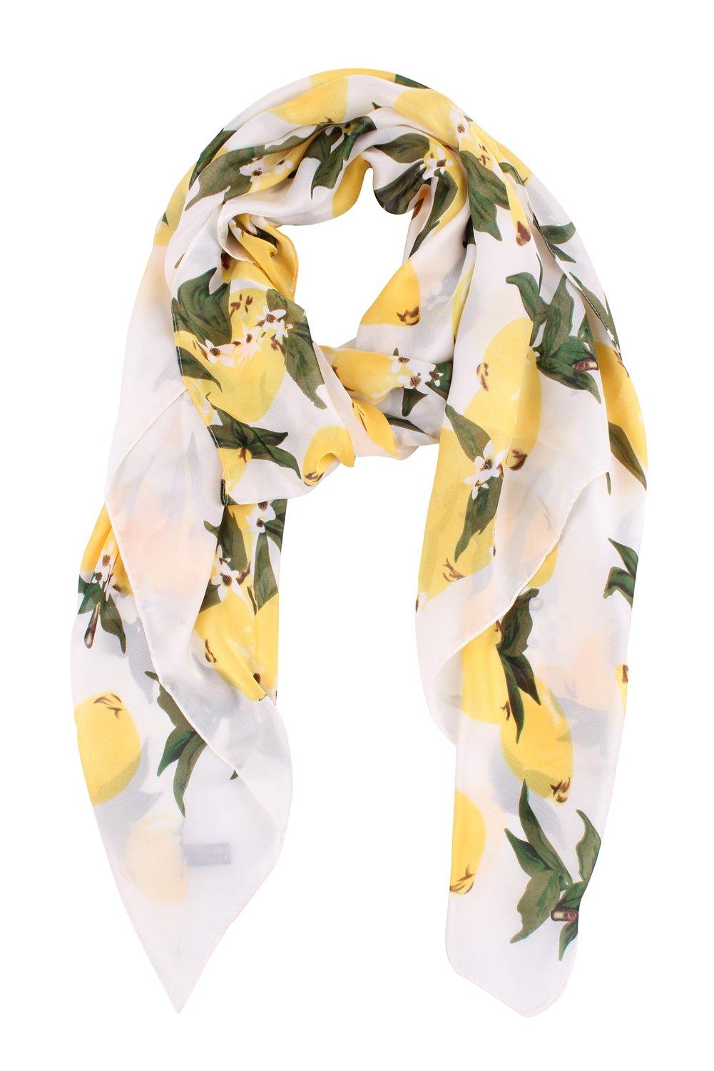 Jaweaver Lightweight Scarf Shawl Fruit Print Silk Like Long Beach Wrap For Women (Mango Yellow)