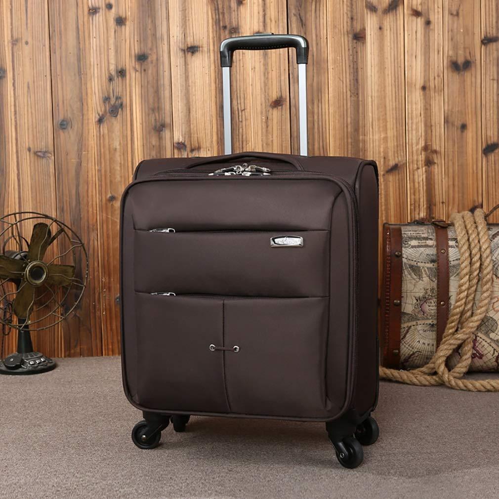 ファッション荷物、オックスフォード布ビジネスボーディングシャーシ、ユニバーサルホイールミュートスーツケース、16インチ (色 : 褐色, サイズ : 16) B07VGTB5JB 褐色 16
