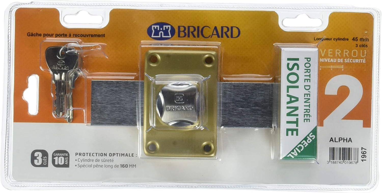 Bricard 1961 Verrou Alpha /à bouton Cylindre 45 mm /ø 22 mm Dor/é