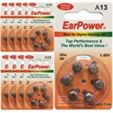 Piles Auditives EarPower 13 (Lot de 10 Plaquettes de 6 Piles) | Piles pour Appareils Auditifs / Aides Auditives | Sans Mercure