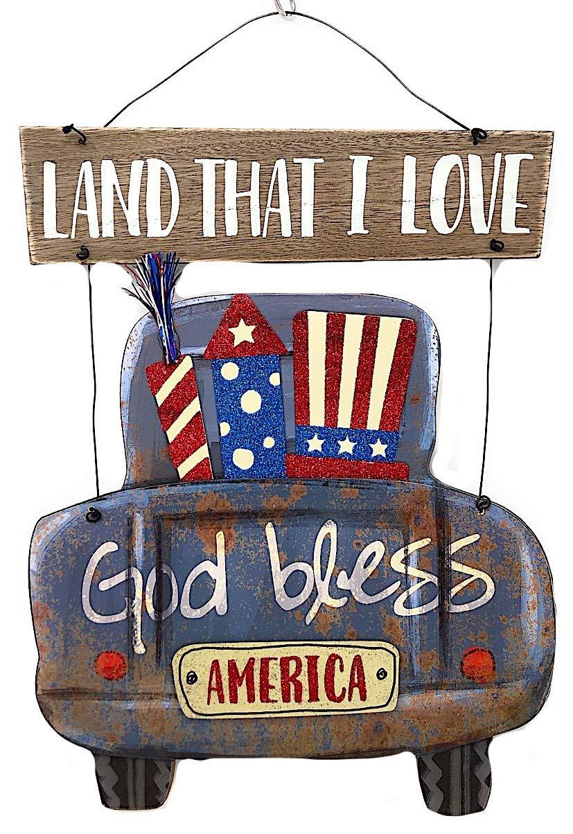 S.T.C. Patriotic American Rustic Wood Metal Decor Wall Front Door Indoor Outdoor Land That I Love God Bless America 16