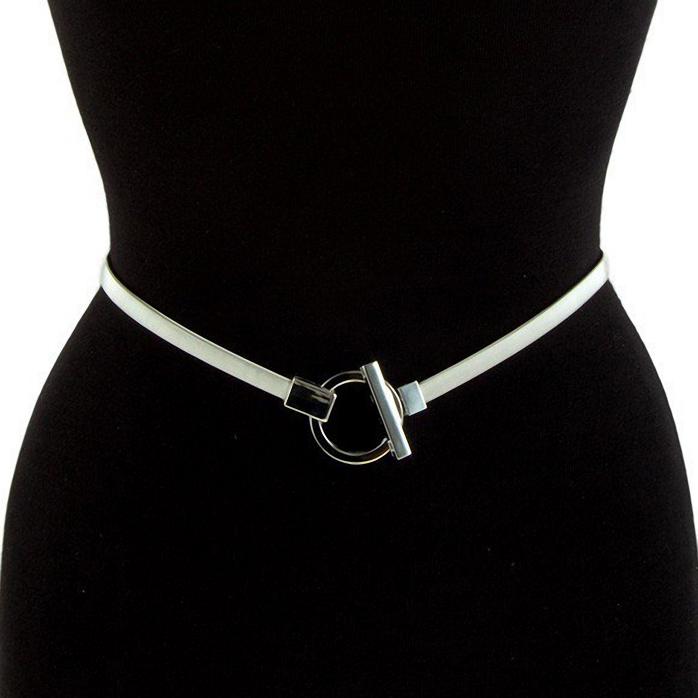 eVogues Plus size O-Ring Pendant Buckle Metal Elastic Waist Belt Silver Tone - One Size Plus