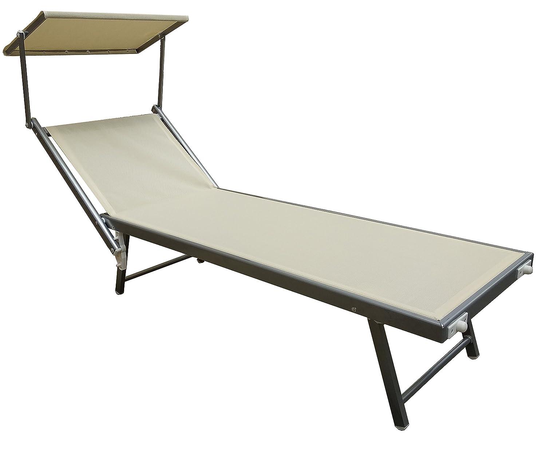 beige Hamaca para playa de aluminio hamaca de color crudo 190 x 70 x h40//90cm tornillos inoxidables