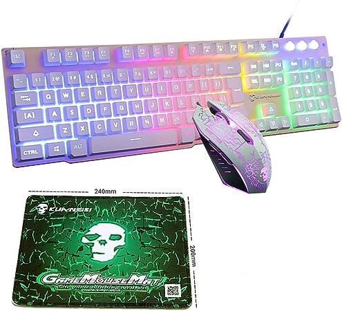 LexonElec® Teclado con cable ratón Combo Gamer T6 Rainbow Backlit Multimedia Ergonomic Usb Pro Gaming Keypad y 2400 DPI 6 botones óptico ratón juegos ...