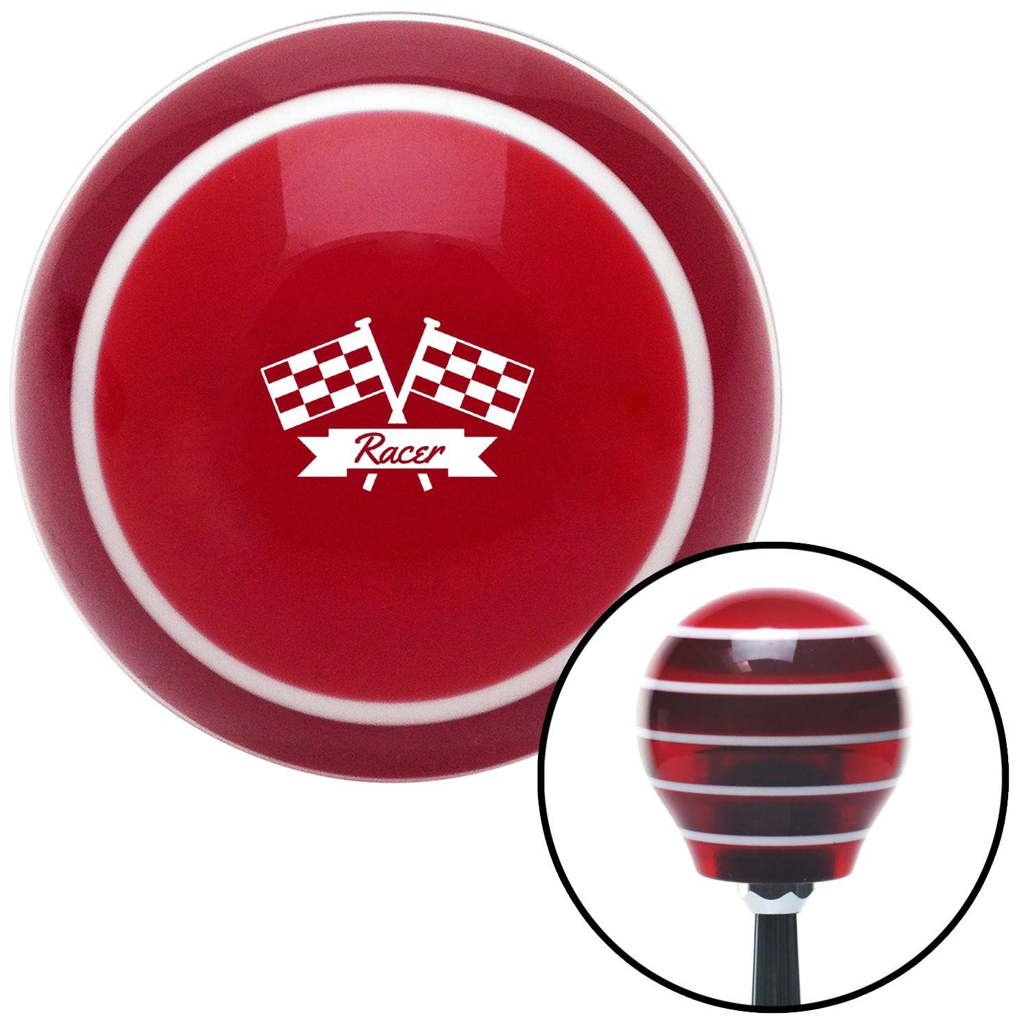 White Racer Red Stripe with M16 x 1.5 Insert American Shifter 274082 Shift Knob