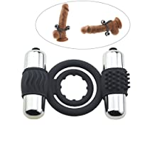 Sex Rabbit Silicone Dual Cock Rings Penis Rings with Mini Bullet Vibrators for Male Masturbator Couples Lover Sex Toys Stronger Erections Sexual Gift (Grey)