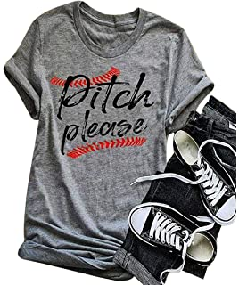 74a5ad50 Women Pitch Please Baseball Funny T-Shirt Short Sleeve Casual Blouse Tee Top