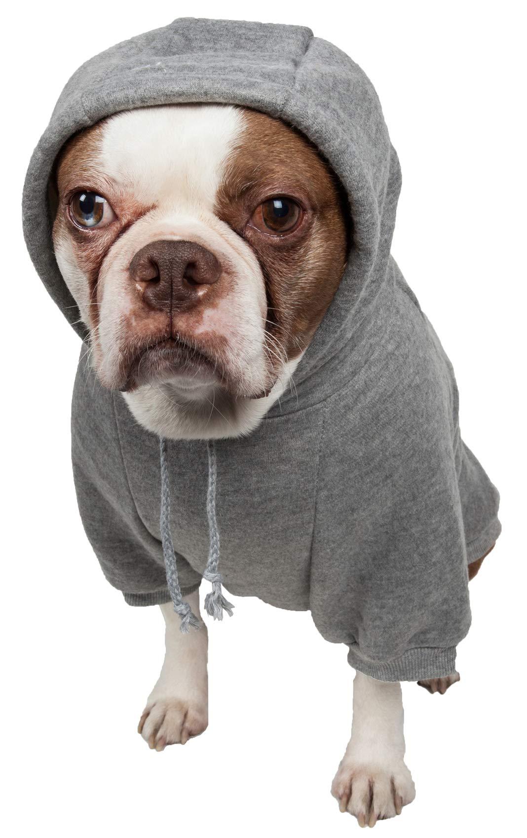 Pet Life American Classic' Designer Fashion Plush Cotton Pet Dog Hooded Sweater Hoodie, Large, Grey
