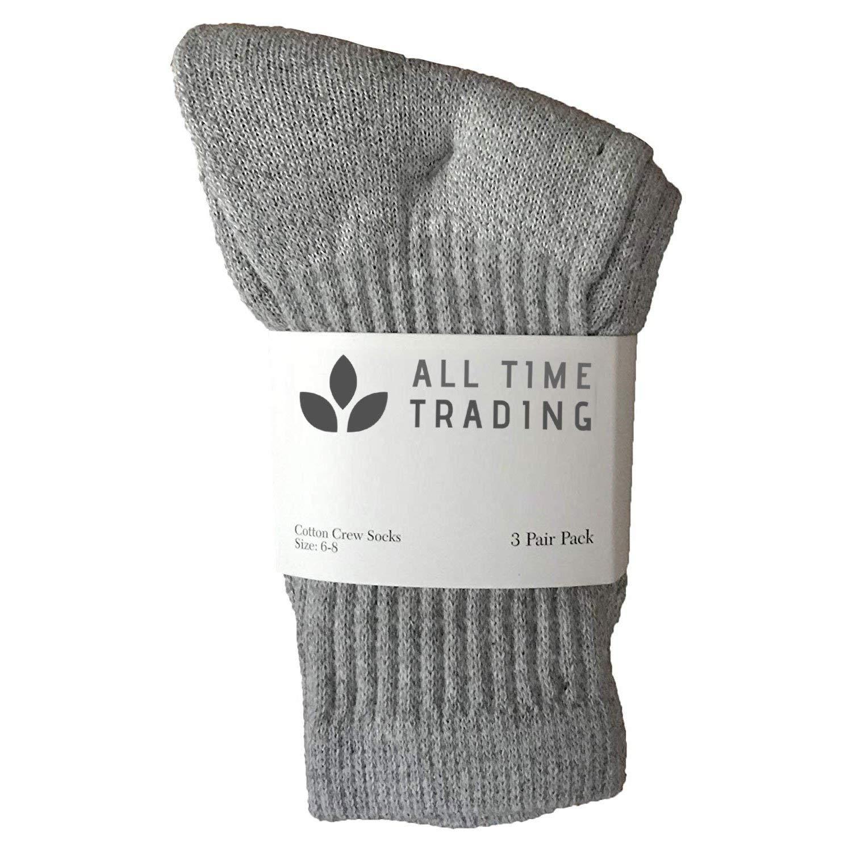 Kids Wholesale Unisex Cotton Crew Socks Gray Crew Socks For Kids - 6-8 - 72 Pack