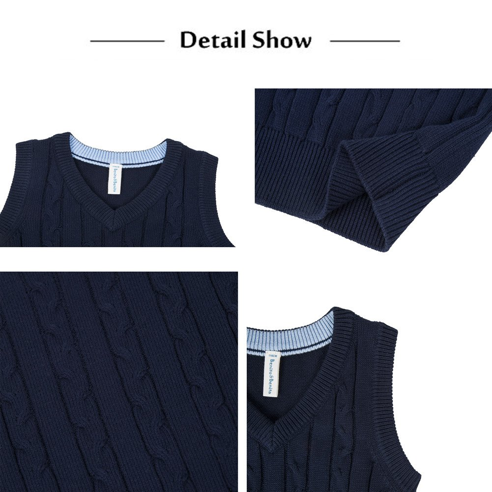 Benito & Benita Boys' Sweater Vest School V-Neck Uniforms Cotton Cable Knit Pullover Sweaters for Boys/Girls 3-12Y Navy by Benito & Benita (Image #4)