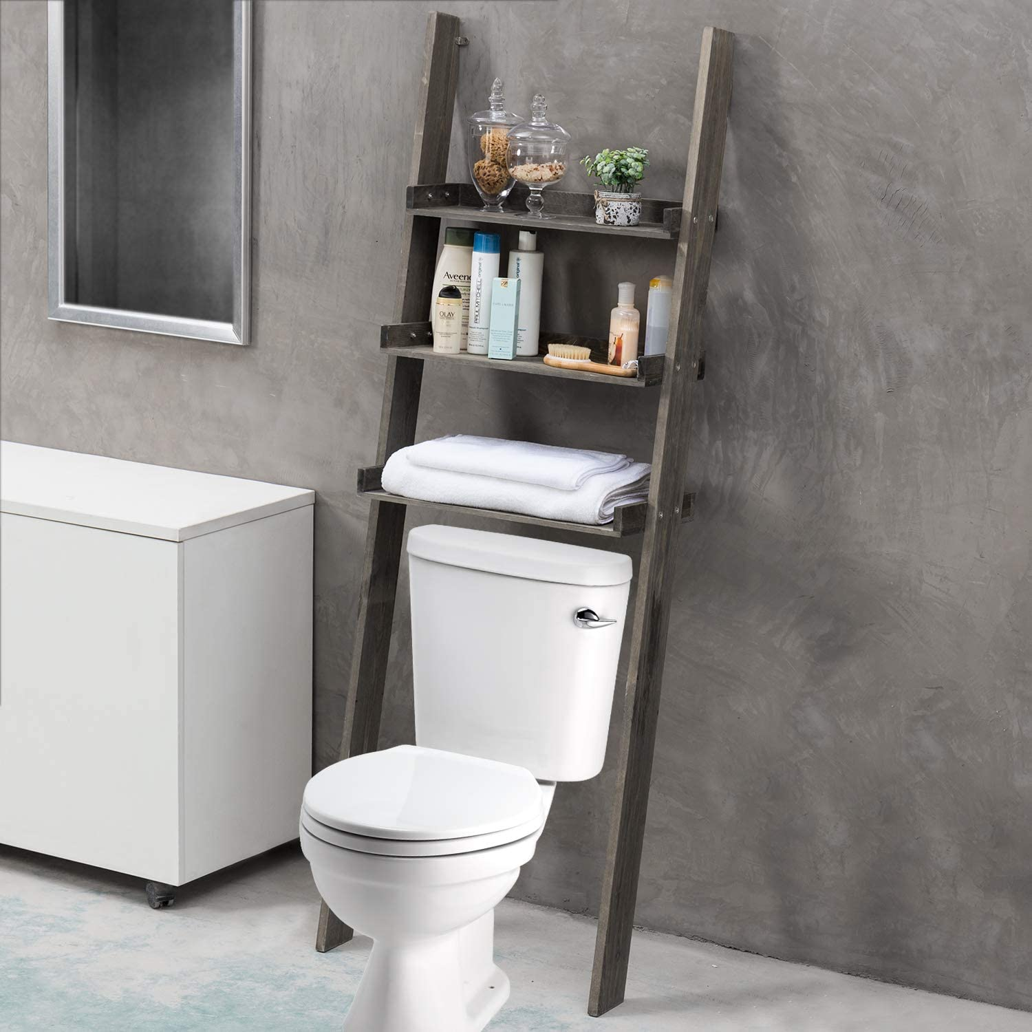 Amazon Com Mygift 3 Tier Gray Wood Over The Toilet Leaning Bathroom Ladder Shelf Home Kitchen