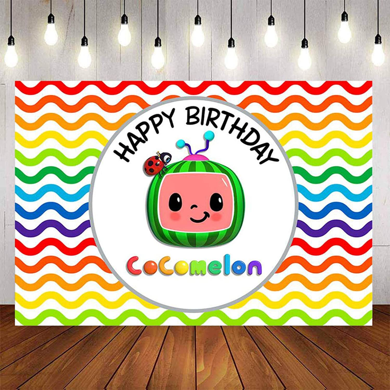 Cocomelon Family Backdrop Boys Birthday Party Background Kids Vinyl Photo Studio