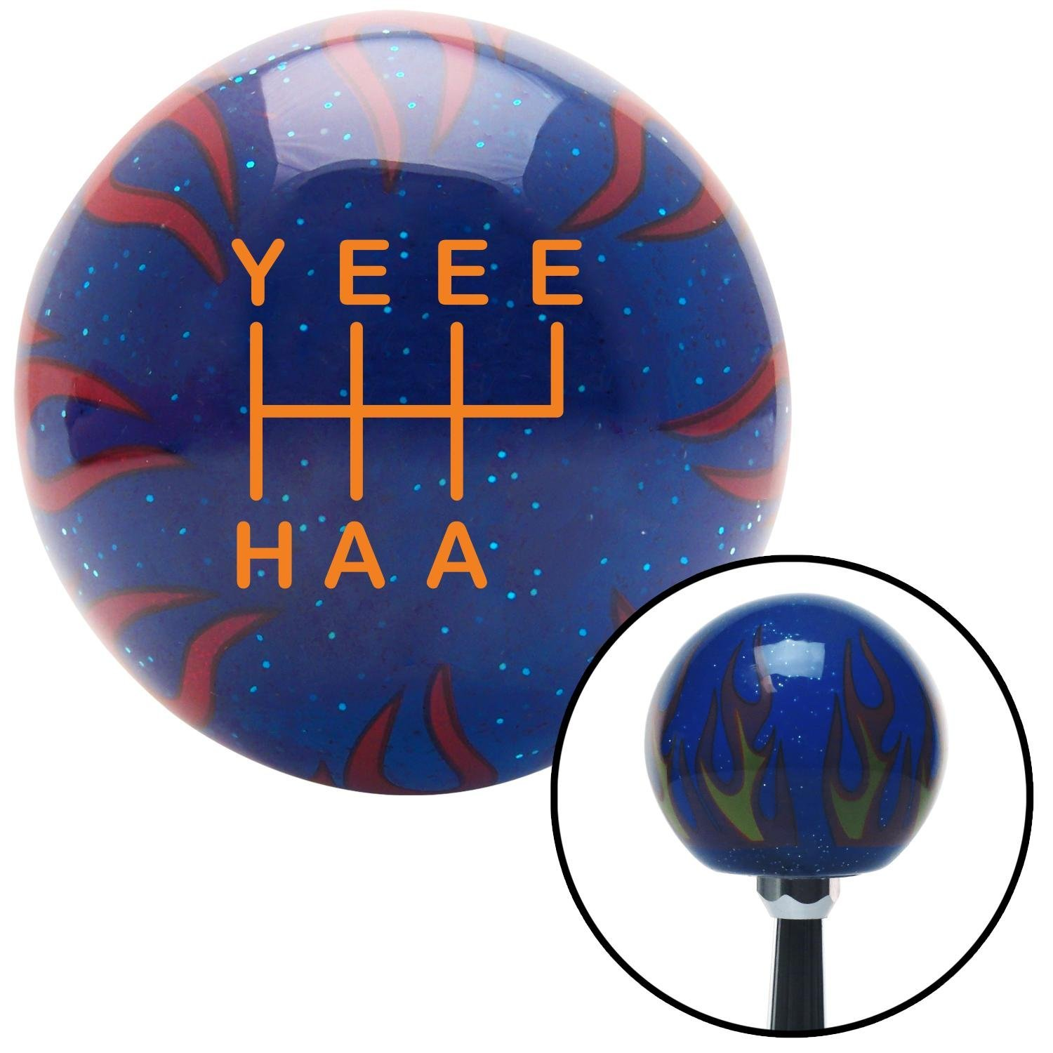 American Shifter 240753 Red Flame Metal Flake Shift Knob with M16 x 1.5 Insert Blue Gecko