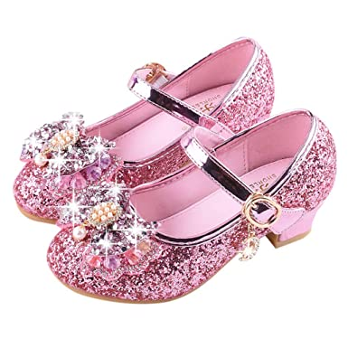 4bd1c88ee8ed Amazon.com  ❤ Mealeaf ❤ Toddler Infant Kids Girls Single Princess Shoes  Pearl Crystal Bling Bowknot Casual Shoes Sandals 3-14Years  Clothing