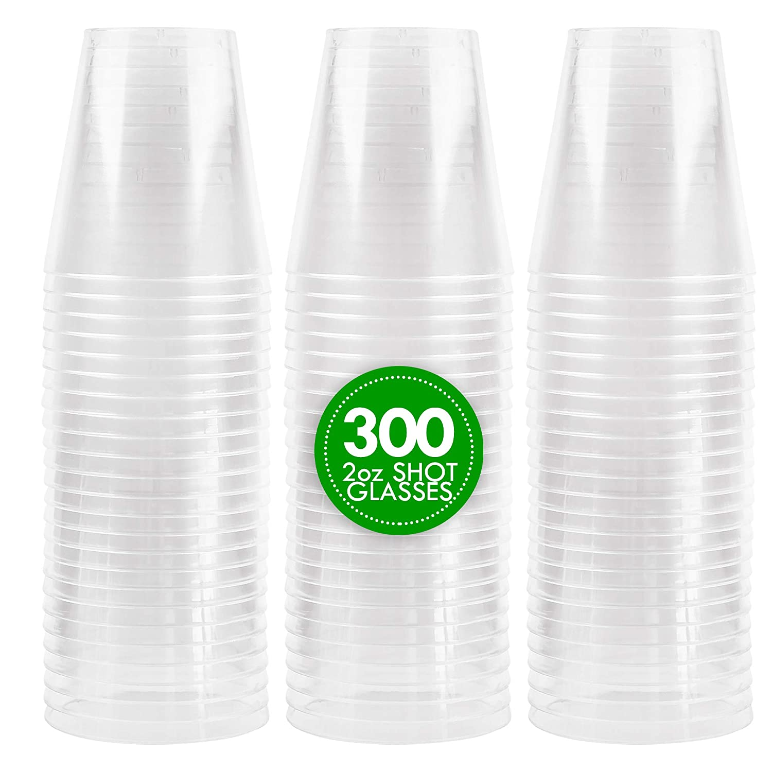 Dips Great for Whiskey Plasticpro 2 oz Shot Glasses Crystal Clear Disposable Hard Plastic Shot Cups Tasting Samples Pack of 100 Shots Tumblers Sauce Jello