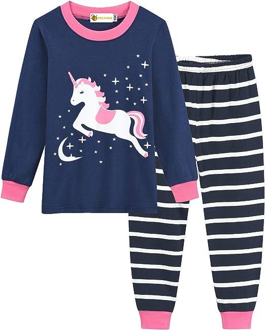MOLYHUA - Pijama de manga larga para niñas, diseño de unicornio, pijamas de algodón, para niños, tallas de 1 a 7 años