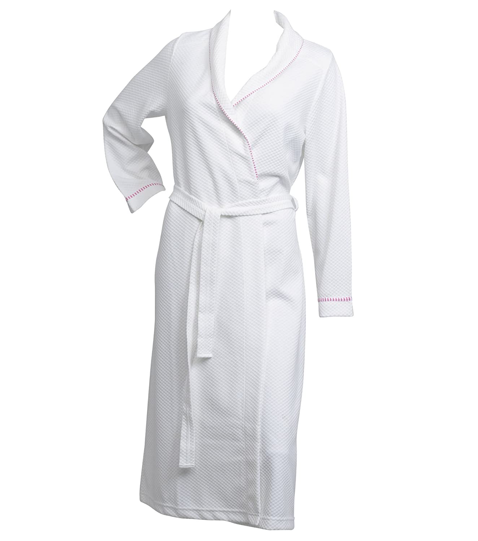 Dressing Gown Satin Stripe Long Sleeve Wrap Ladies 100/% Cotton Gingham Trim Robe