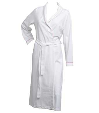 4d666f97e5 Ladies Lightweight White Waffle Dressing Gown 100% Polyester Wrap Bath Robe  - Pink Trim (