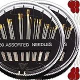 JollMono-60 Pack, Premium Sewing Needles for Handsewing, Assorted Sizes, 6 Sizes Sewing Sharp Needles, 6 Pcs Big Eye Hand Sew