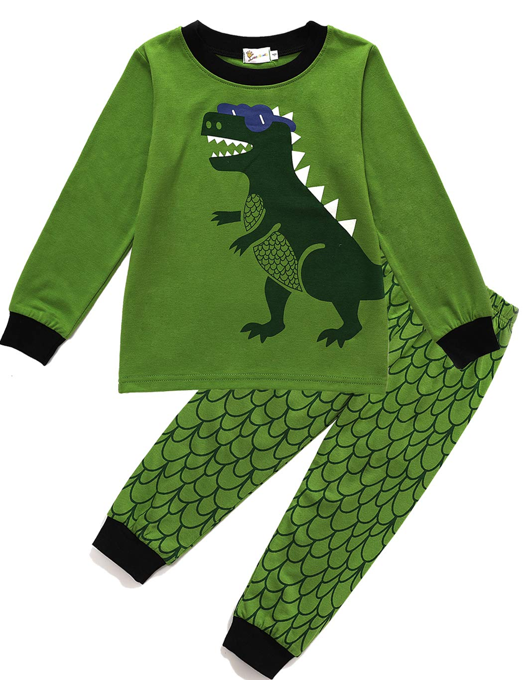DDSOL Kids Pajamas for Boys Long Sleeve Dinosaur Pjs Set 2 Piece Cotton Sleepwear Toddler Clothes Outfit Size 2T 3T 4T 5T 6T