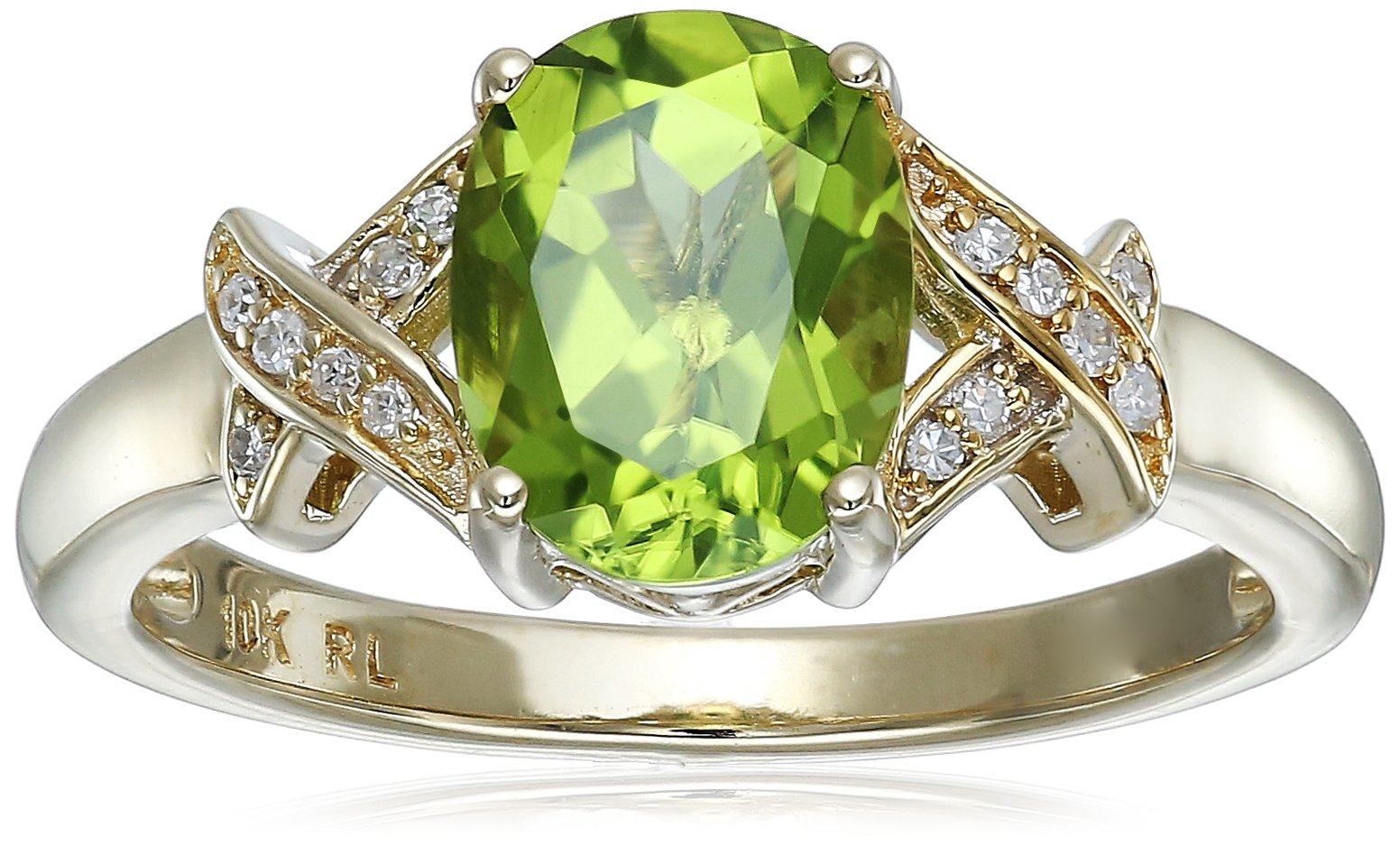 10k Yellow Gold Oval Peridot with Diamond Accent Ring, Size 7