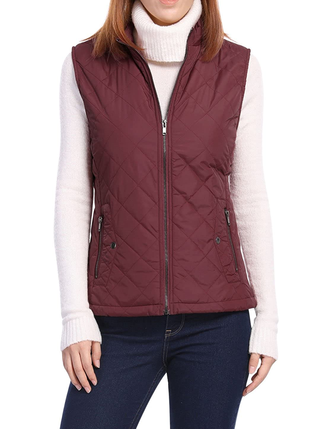 Allegra K Women's Front Zip Up Stand Collar Mock Pockets Quilted Padded Vest g18082900ux0053