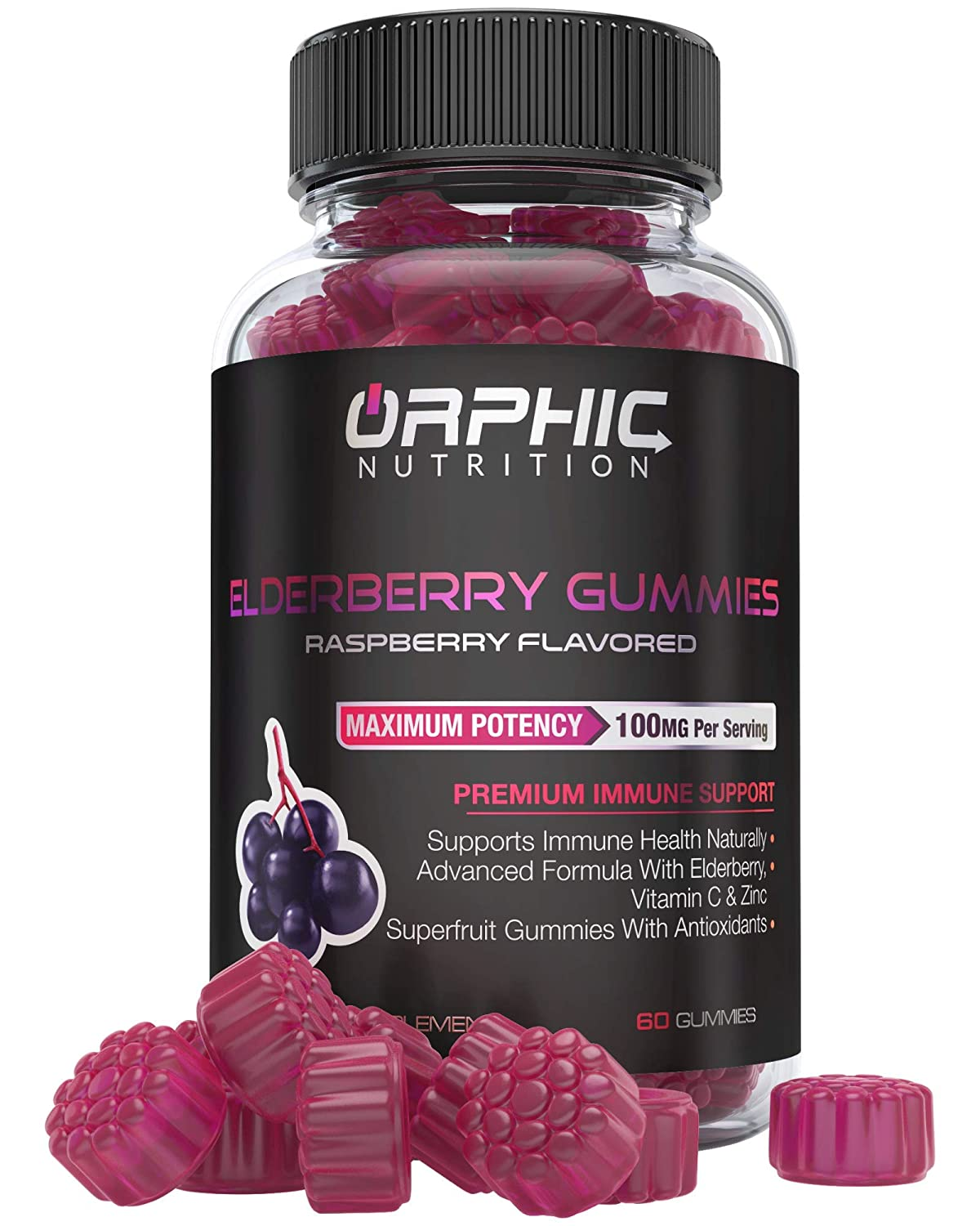 Natural Elderberry & Vitamin C Gummies - Premium Antioxidant Formula & Immune System Booster for Men, Women and Kids - Best Source of Vitamin C & Zinc - 100MG Of Elderberry For Immune Support & Health