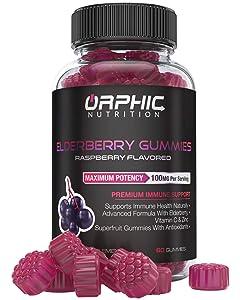 Natural Elderberry & Vitamin C Gummies - Premium Antioxidant Formula & Immune System Booster for Men, Women and Kids - Best Source of Vitamin C & Zinc - 100MG Of Elderberry For Immune Support & Health