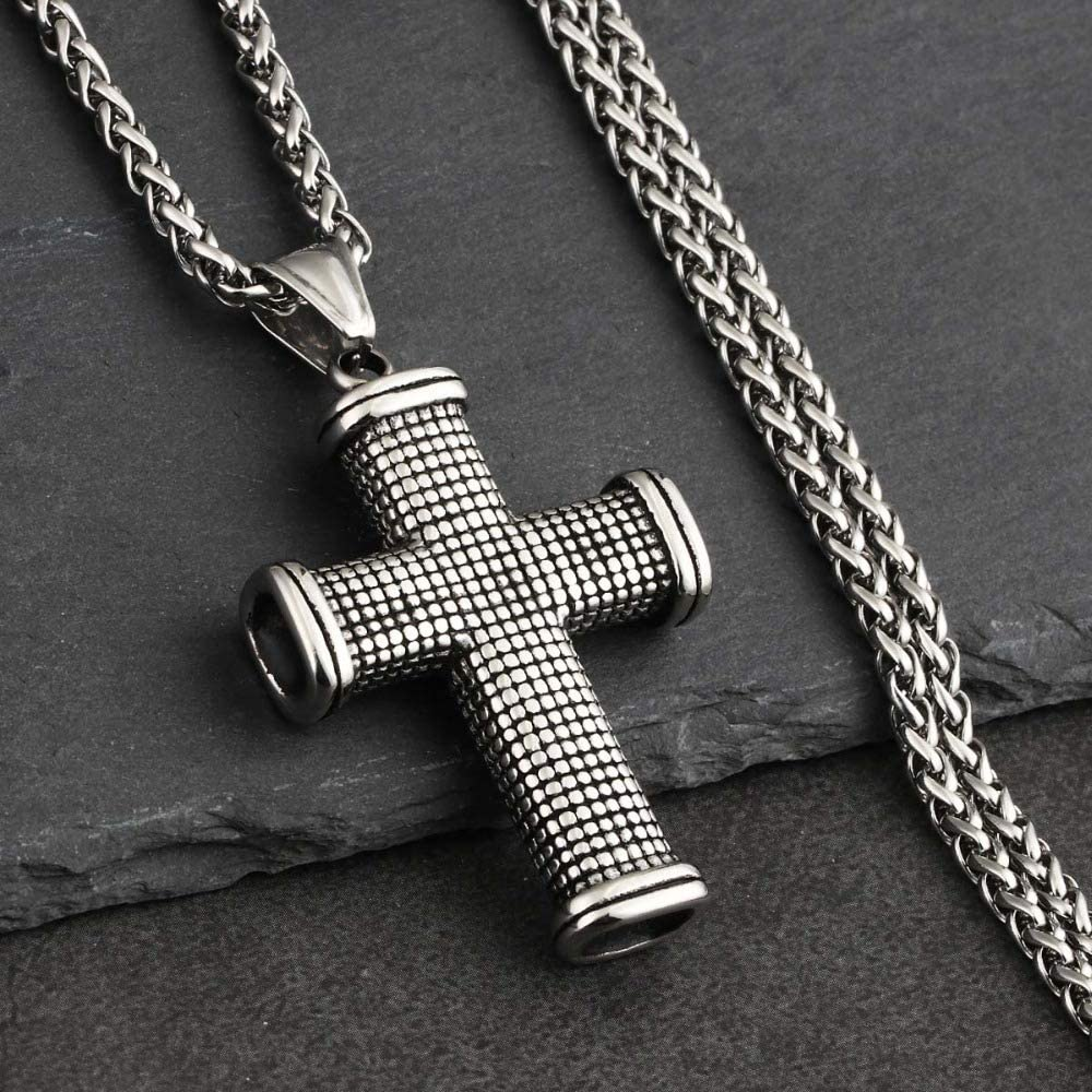 Trendy Silver Color Stainless Steel Link Chain Necklaces for Men Cross Pendants/&Necklaces Women Metal Fashion Jewelry Gift