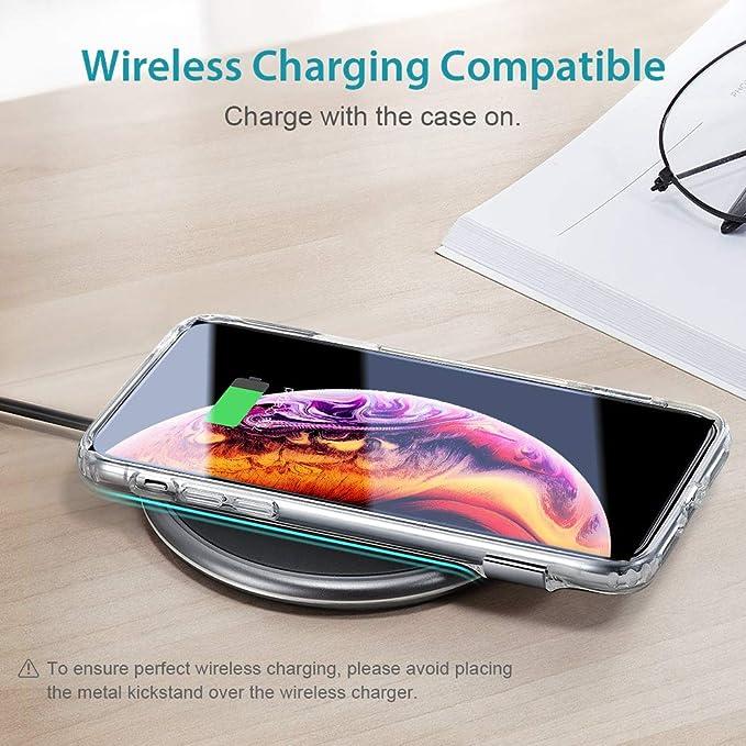 ESR Cover iPhone XS, Cover iPhone X, Custodia Protettiva Silicone TPU con Supporto Cavalletto in Metallo di Multi-Angolo [Display Orizzontale e ...