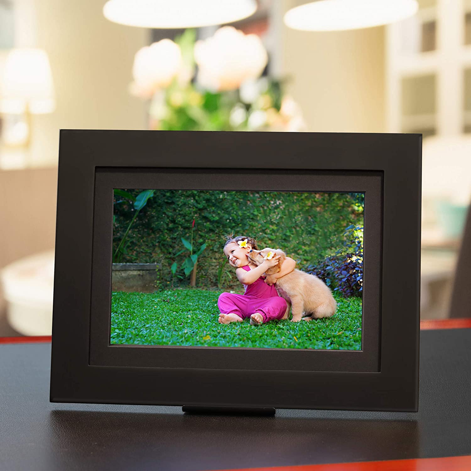 "Brookstone PhotoShare Smart Digital Picture Frame, WiFi, HD, Family Photo Album Slideshow, Tabletop End Table, Home Décor, 10"", Classic Black"