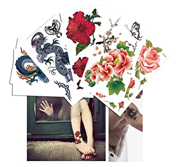 fd77b54c7d9d4 Amazon.com : Supperb 6 Sheets Mix Body Art Men and Women Temporary Tattoo  Value Gift Pack, Dragon, Flower, Butterfly : Beauty