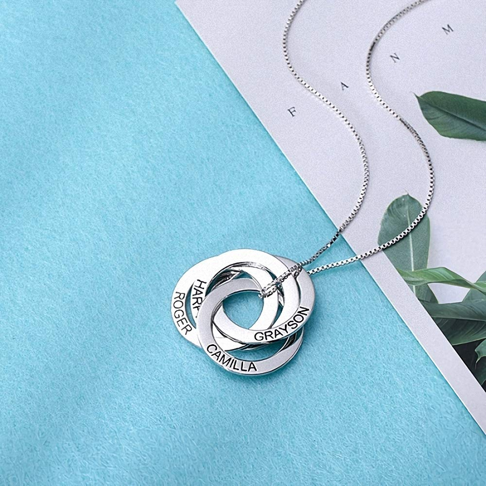 Russian Ring Necklace with Engraving 4 Names 4 Rings in Sterling Silver Rose Gold Personalized/—4 Circle Russian Ring Name Necklace Customized