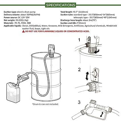Terapump Tredrum 335 49 Ibc Totes Telescopic Plug In Electric Drum