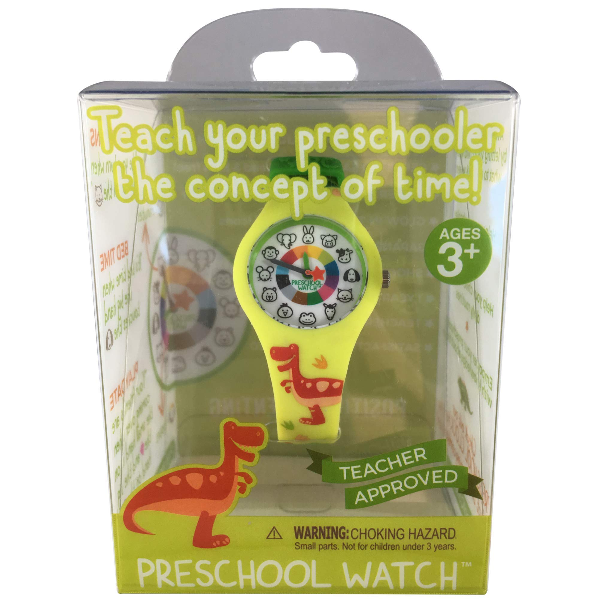 Dinosaur Preschool Watch - The Only Analog Kids Watch Preschoolers Understand! Quality Teaching time Silicone Watch with Glow-in-The-Dark Dial & Japan Movement by PRESCHOOL COLLECTION (Image #2)