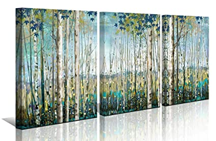 Amazon.com: Green View White Birch Forest Canvas Painting Wall Art ...