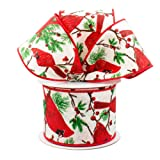 """Red Cardinal Wired Christmas Ribbon - 2 1/2"""" x 10"""