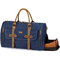 Large Duffel Bag,Vaschy Leather Canvas Duffel Tote with Shoe Compartment Large 46L Weekend Carry-on Holdall Baggage Sports Travel Bag with Detachable Shoulder Strap