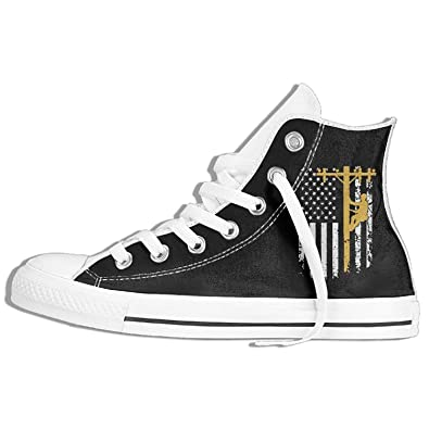 e62d997940ff6 Amazon.com | Lineman with American Flag Unisex High Top Sneakers ...