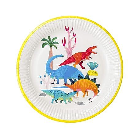 Talking Tables Dino Platos de cumpleaños de Dinosaurio 23Cm 8 Paquete, Papel, Varios Colores