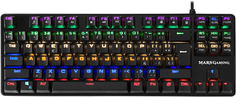 Mars Gaming MK4 MINI, teclado mecánico, 6 colores, switch OUTEMU marrón, ES/US