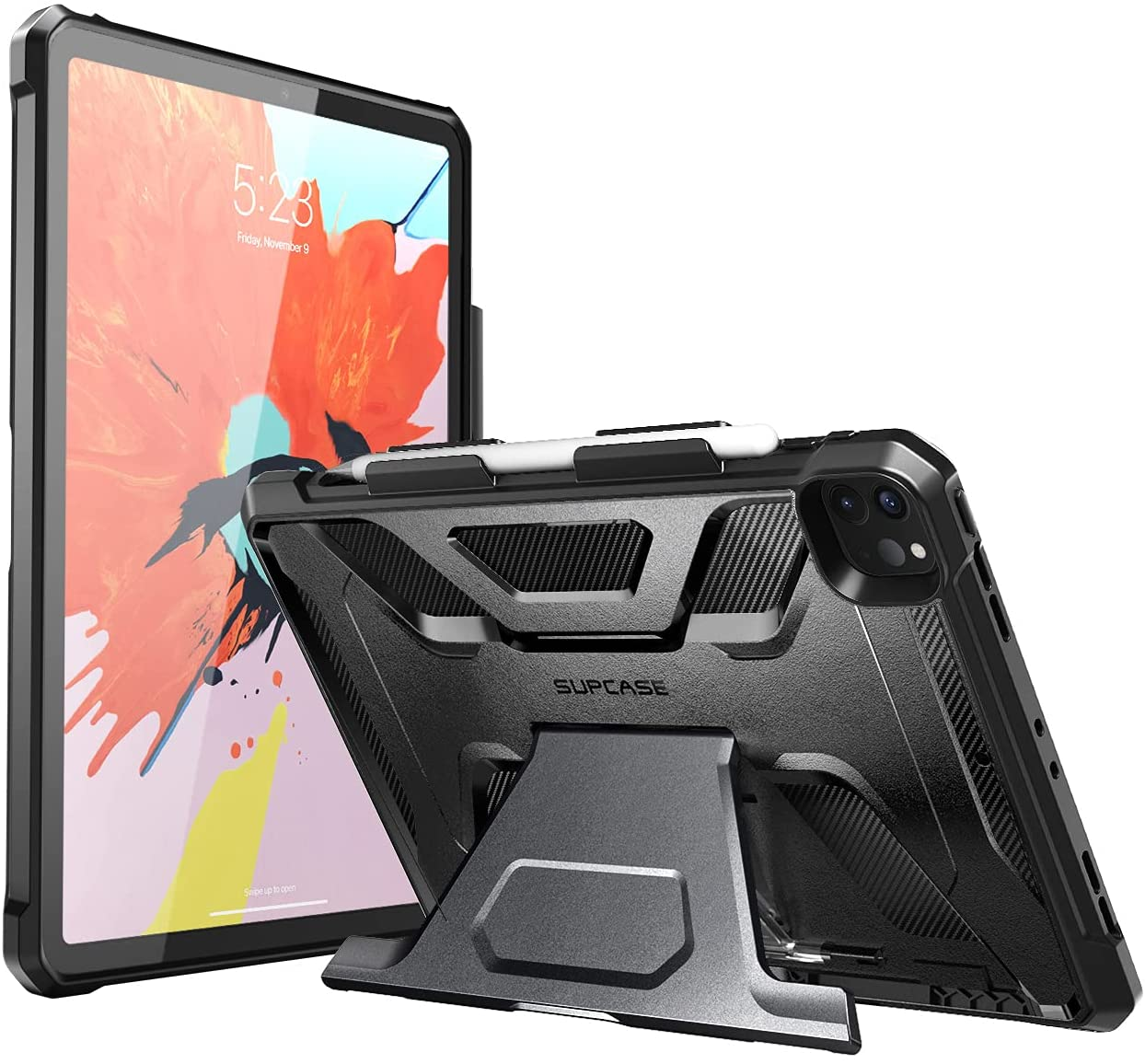 SUPCASE Unicorn Beetle Series Case for iPad Pro 12.9 inch ( 2021), with Built-in Apple Pencil Holder Full-Body Kickstand Rugged Protective Case for iPad Pro 12.9 5th (Black)