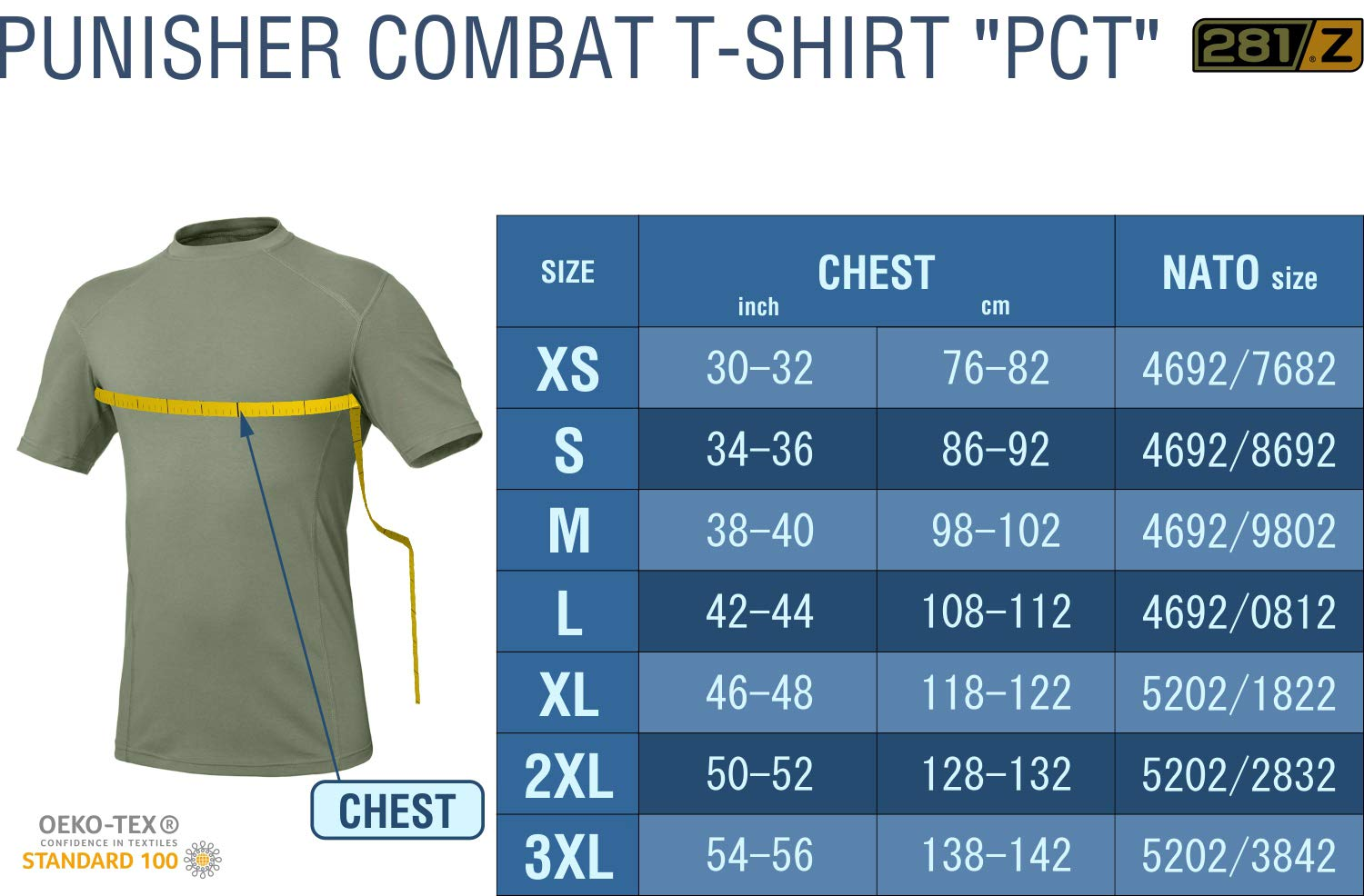 281Z Military Stretch Cotton Underwear T-Shirt - Tactical Hiking Outdoor - Punisher Combat Line (Olive Drab, X-Large) by 281Z (Image #6)