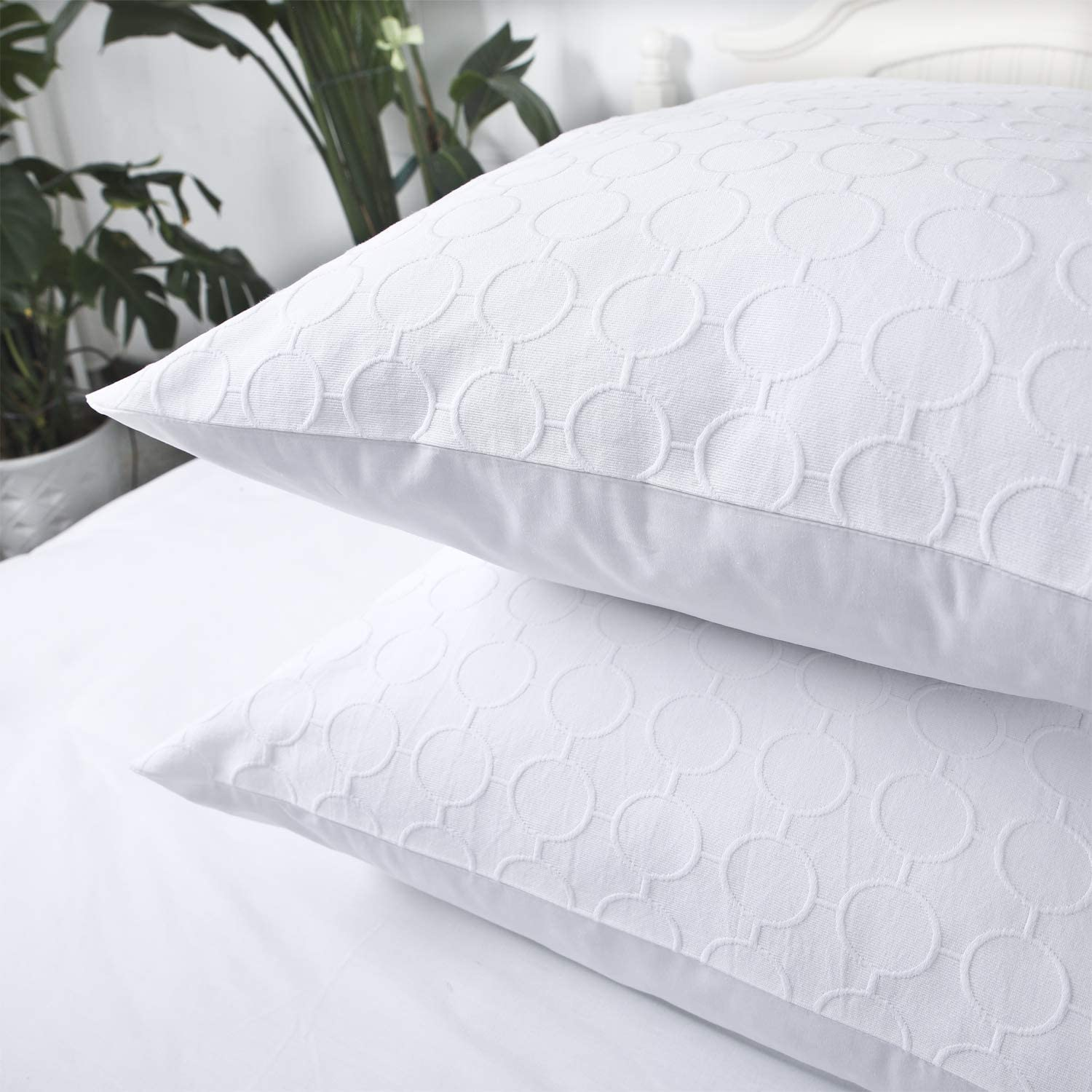YINFUNG White Pillow Shams King Matelasse Quilted Pattern Set of 2 Polka Dot Textured Pillowcases Embroidered Weave Geometric Jacquard Cotton Thick Farmhouse 20×36