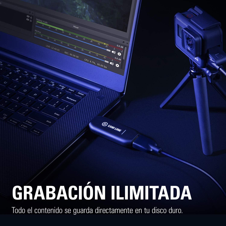 v/ídeo o deportivas a 1080p-60fps//4K-30fps stream y grabaci/ón de fotos r/éflex Elgato Cam Link 4K USB3.0