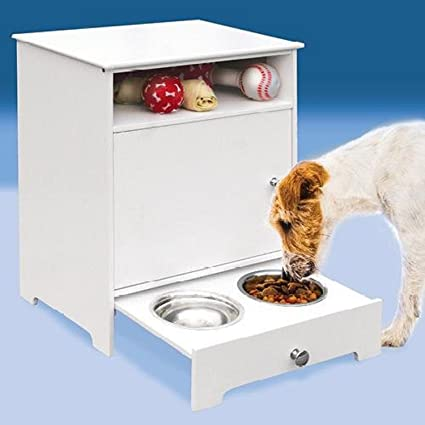 Charmant Etna Wooden Pet Food Storage Cabinet With Pull Out Feeder, White