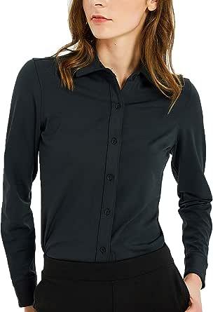Safort Women's Basic Stretch Button Down Shirt with Long Sleeve Slim Fit Dress Shirt
