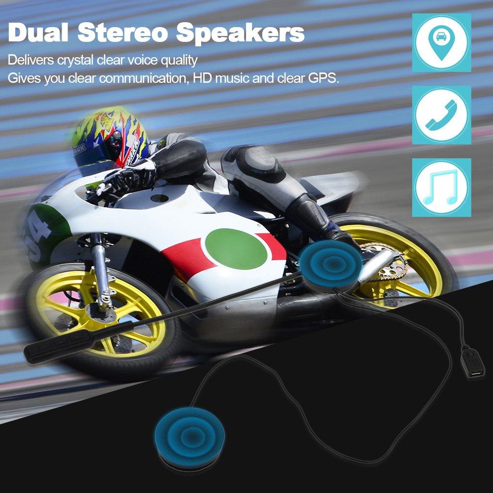 Docooler Auriculares Inal/ámbrico para Casco de Motocicleta con Intercomunicador Bluetooth Manos Libres con Micr/ófono Control de Llamada de M/úsica Negro